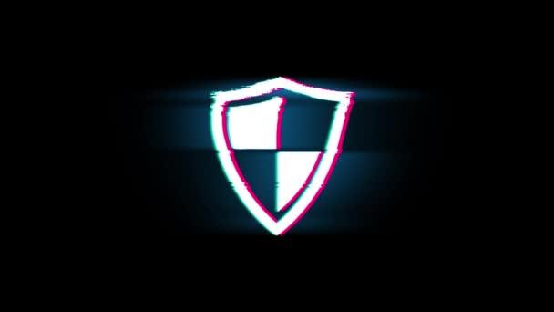 Védelem, őr, védelem, biztonság, pajzs Symbol a glitch retro vintage animáció.