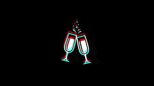 Na zdraví přípitek dvě sklenice Champagneicon ročník Znesená špatná animace signálu.