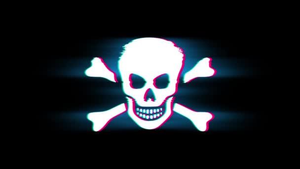 Skull and Crossbones Simbolo su Glitch Retro Vintage Animazione.