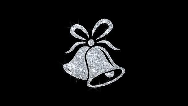 Karácsonyi szalag Bow Bells Icon ragyogó Glitter loop villogó részecskék .