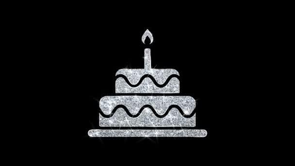Narozeninový dort ikona zářícího třpytu blikající částice .