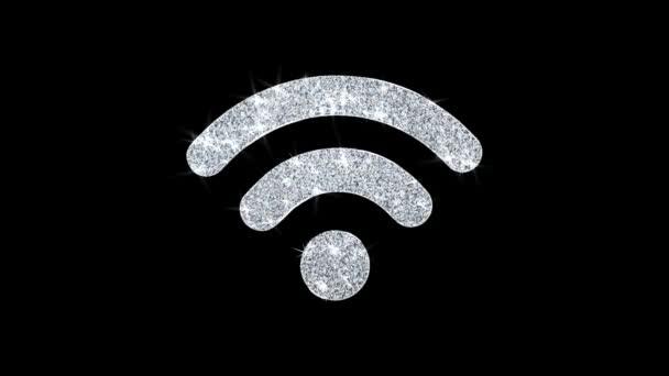 Wifi-Verbindung Signal Symbol glänzende Glitzerschleife blinkende Teilchen .