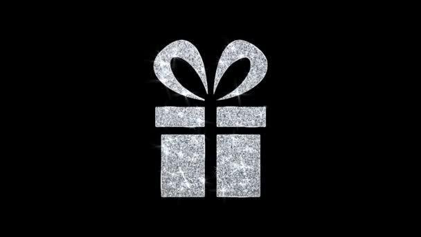 Vörös szalag ajándékdoboz present ikon ragyogó Glitter loop villogó részecskék .