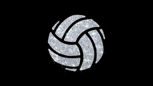 Hrát Volejbalovou hru ikona míče zářící smyčka blikající částice .