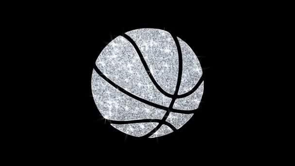 Ikona basketbalového míče blikající částice .