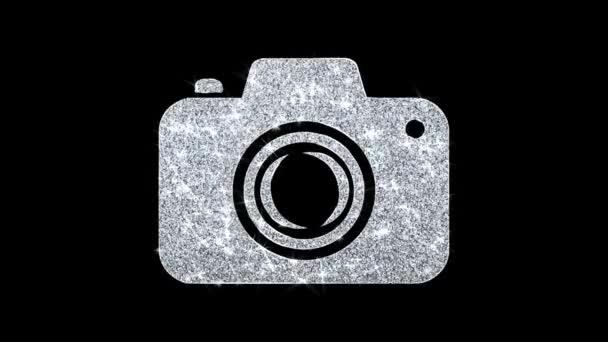 Ikona fotografie kamery zářivá třmenová smyčka blikající částice .
