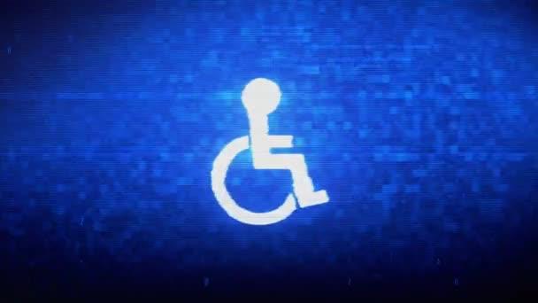 Deaktiviertes Handicap Symbol Digital Pixel Noise Error Animation.