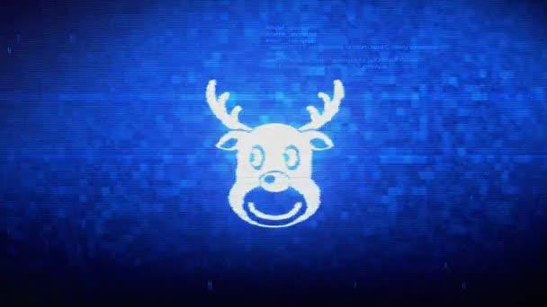 Karácsonyi rénszarvas Xmas Deer Symbol digitális pixel zaj hiba animáció.