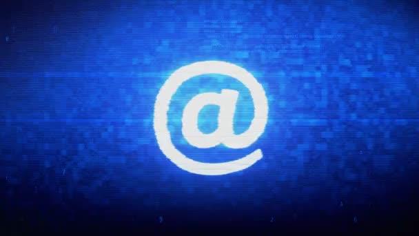 E-maily, E-mail, email, Doručená pošta, pošta, symbol zprávy digitální pixel chyba šumu.