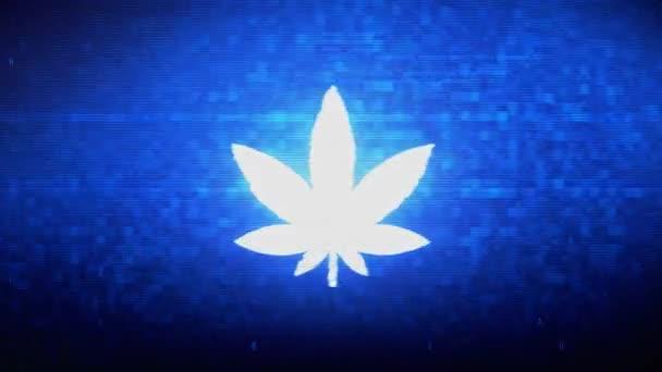 Marijuana Leaf Symbol Digital Pixel Noise Error Animation.