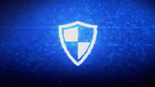 Védelem, őr, védelem, biztonság, pajzs Symbol digitális pixel zaj hiba animáció.