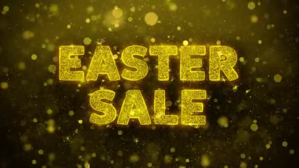 Easter Sale Text on Golden Glitter Shine Particles Animation.