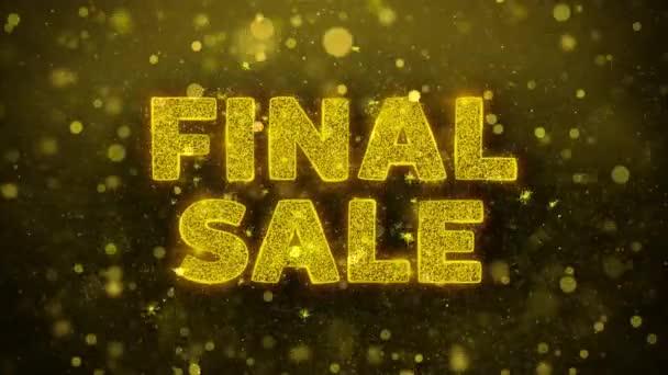 Final eladó szöveg Golden Glitter Shine részecskék animáció.