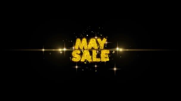 Május eladó szöveg feltár-ra Glitter arany részecskék tűzijáték.
