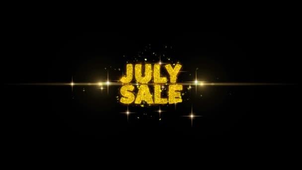 Július eladó szöveg feltár a Glitter arany részecskék tűzijáték.