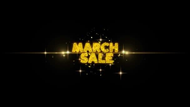 Březnový prodej zobrazit na třpytu zlaté částice Firework.