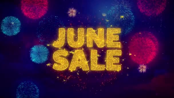 June Sale Text on Colorful Ftirework Explosion Particles.
