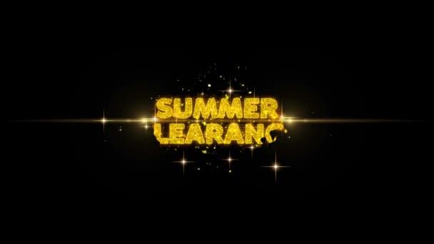 Nyári clearance szöveg feltár a Glitter arany részecskék tűzijáték.