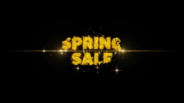 Jarní prodej text k odhalení Třpytavé zlaté částice Firework.