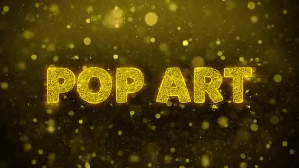 Pop Art Text auf goldenem Glitzerglanz Teilchen Animation.