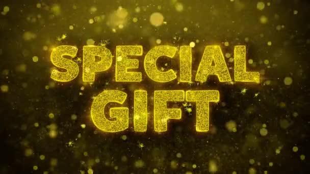 Speciální text dárku pro zlaté Třpycení částic animace.