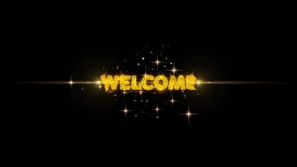Willkommen Text offenbaren auf Glitter Golden Particles Feuerwerk.