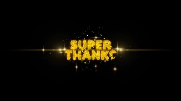 Super thanks szöveg feltár a Glitter arany részecskék tűzijáték.
