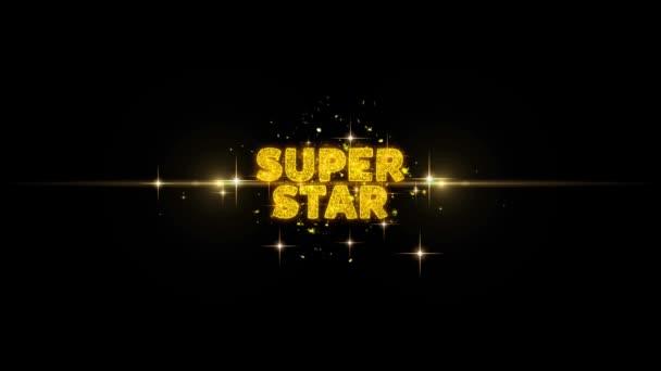 Super Star szöveg feltár a Glitter arany részecskék tűzijáték.