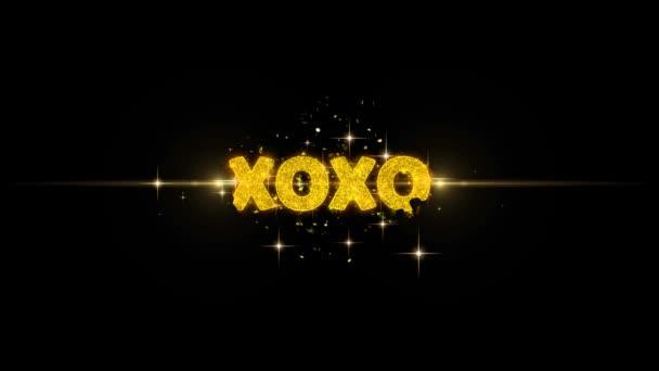 Xoxo szöveg feltár a Glitter arany részecskék tűzijáték.