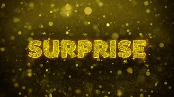 Překvapivý text na zlaté Třpyti částic animace.
