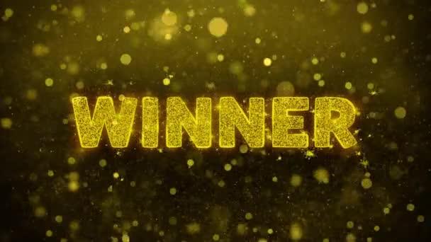 Text vítězů na zlatých třpytu animovaných částic.
