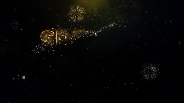 Speciální text dárku pro zlaté částice zobrazení Fireworks.