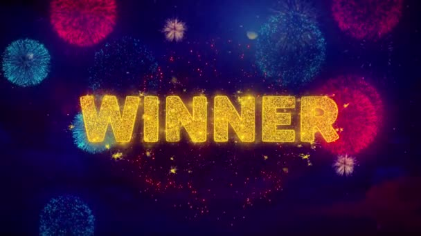Winner Text on Colorful Ftirework Explosion Particles.