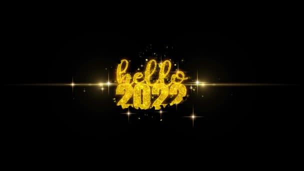 Hello 2022 új év szöveg Wish feltár a Glitter arany részecskék tűzijáték.