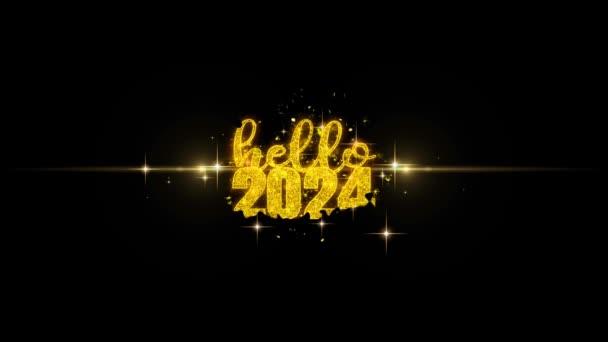 Hello 2024 új év szöveg Wish feltár a Glitter arany részecskék tűzijáték.
