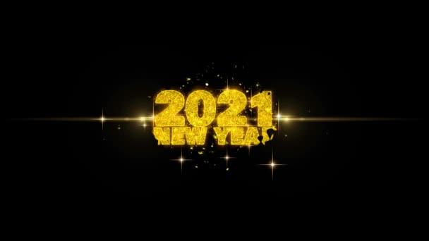 2021 új év szöveg Wish feltár a Glitter arany részecskék tűzijáték.
