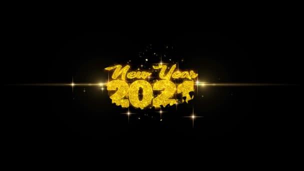 Új év 2021 szöveg Wish feltár a Glitter arany részecskék tűzijáték.