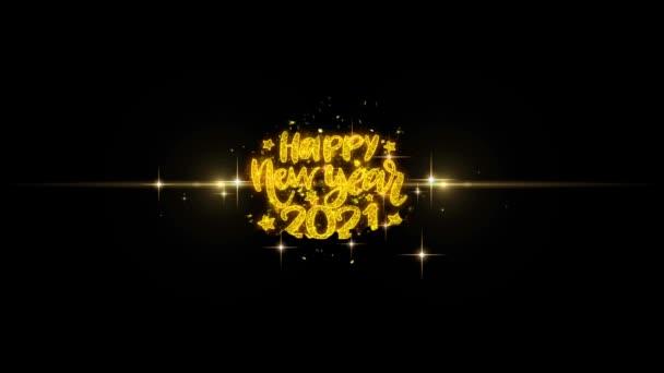 Boldog új évet 2021 szöveg Wish feltár a Glitter arany részecskék tűzijáték.