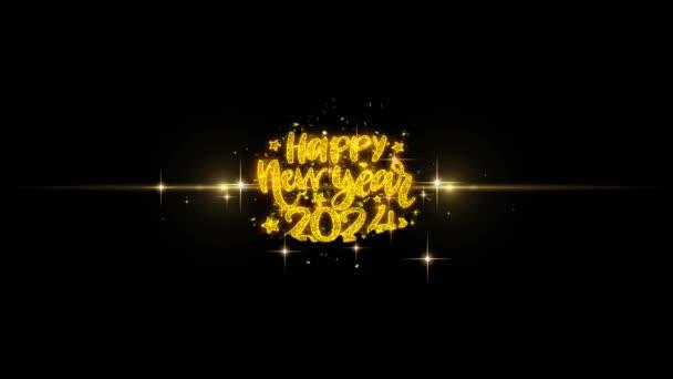 Boldog új évet 2024 szöveg Wish feltár a Glitter arany részecskék tűzijáték.