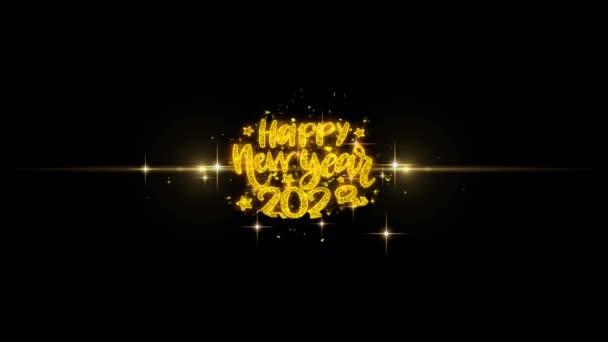 Boldog új évet 2023 szöveg Wish feltár a Glitter arany részecskék tűzijáték.