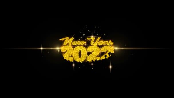 Új év 2022 szöveg Wish feltár a Glitter arany részecskék tűzijáték.