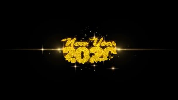 Új év 2020 szöveg Wish feltár a Glitter arany részecskék tűzijáték.