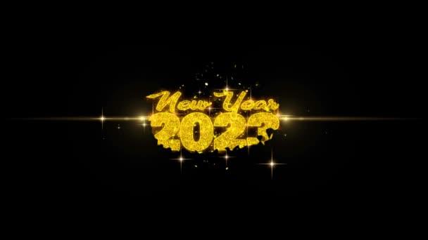 Új év 2023 szöveg Wish feltár a Glitter arany részecskék tűzijáték.