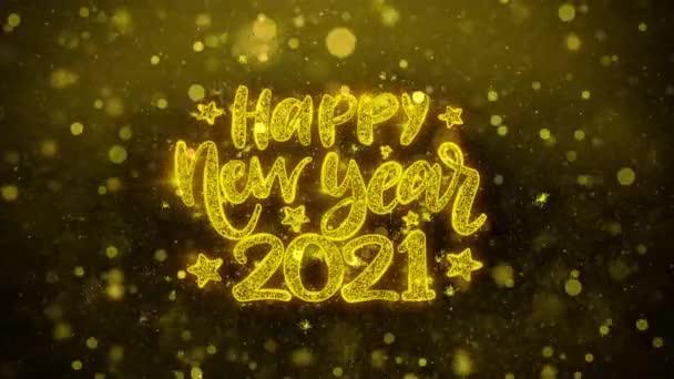 Šťastný nový rok 2021 přání textu na zlaté Třpycení částic animace.