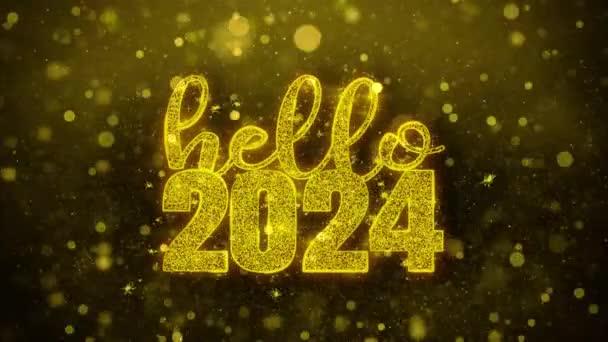 Hello 2024 přání textu na zlaté Třpyty částic animace.