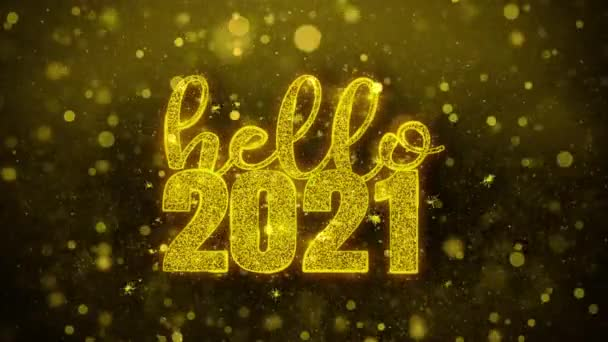 Hello 2021 přání textu na zlaté Třpyty částic animace.