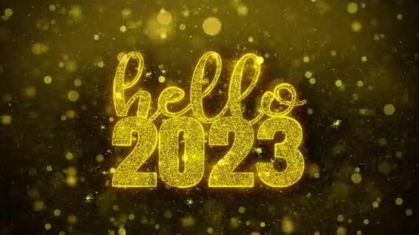 Hello 2023 Wish szöveg Golden Glitter Shine részecskék animáció.