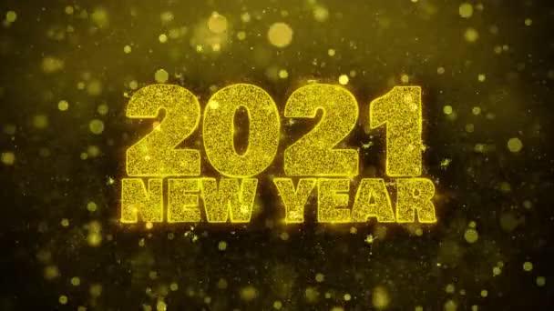 2021 új év Wish szöveg Golden Glitter Shine részecskék animáció.