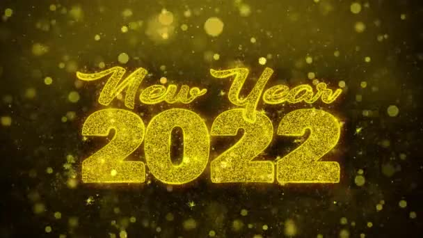 Neujahr 2022 Wunschtext auf goldenem Glitzerglanz Teilchen Animation.