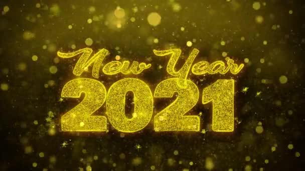 Új év 2021 Wish szöveg Golden Glitter Shine részecskék animáció.